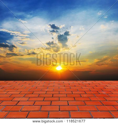 Defocus And Blur Image Of Terracotta Floors And Beautiful Sunset ,thailand For Background Usage