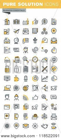 Set of modern vector thin line business icons