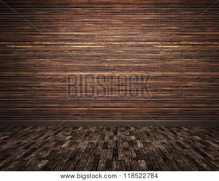 Wooden Planks Wall And Parquet Floor Background 3D Render