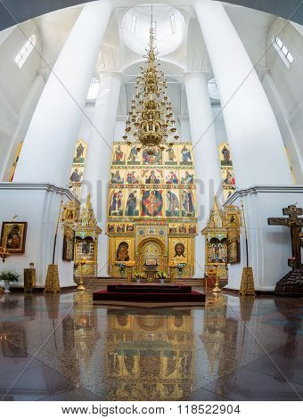 Interior view of Assumption Cathedral in Yaroslavl, Russia
