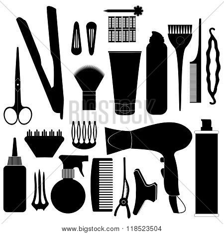 Hairdressing Related Symbol. Vector Set Of Accessories For Hair
