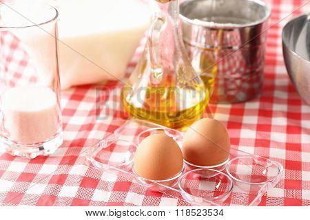 baking ingredients for dough preparation