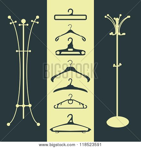 Coat Rack And Hanger Silhouetter Illustration. Clothes Hanger, Floor Hanger