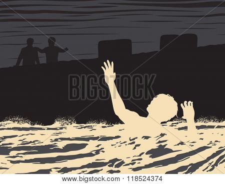 EPS8 editable vector illustration of a drowning man seen by two other men