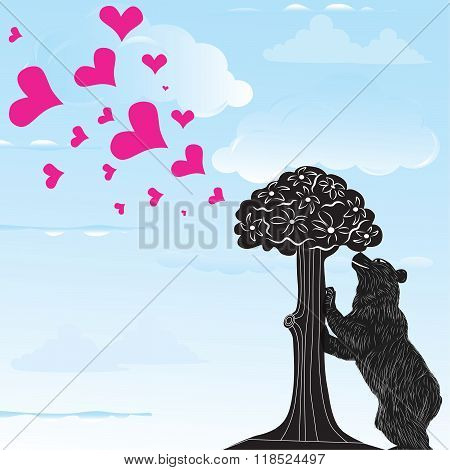 Love Heart Background With Statue Of Bear And Strawberry Tree And The Words Madrid, Spain Inside, Ve