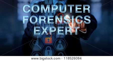 Officer Touching Computer Forensics Expert