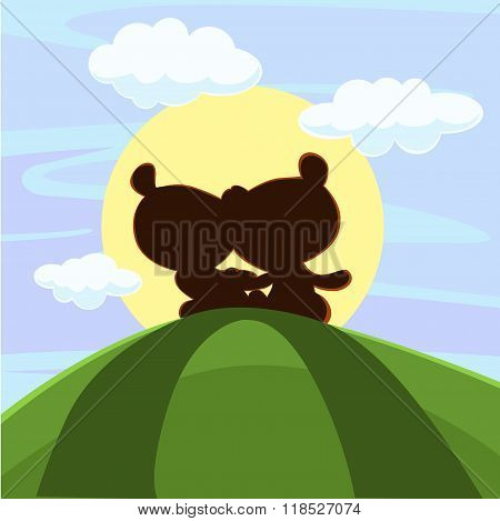 Cute Teddy Bear Sitting In Sunset - Vector Illustration