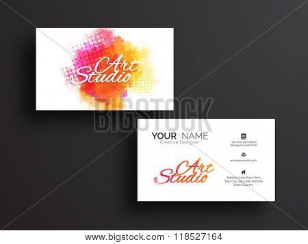 Creative horizontal Business Card, Visiting Card or Name Card set with front and back presentation.