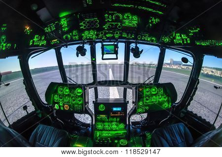 Cabine of helicopter simulator