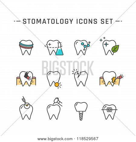 Stomatology icons set
