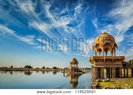 Indian landmark Gadi Sagar - artificial lake. Jaisalmer, Rajasthan, India