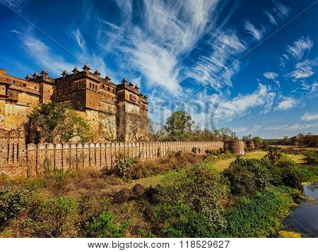 Famous indian tourist landmark - Orchha palace, Madhya Pradesh, India