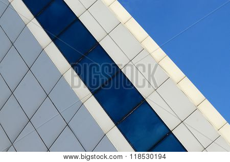 Architecture Abstract Blue Glass  Wall On Sky Background