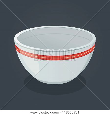 Empty Ceramic Bowl Vector Illustration
