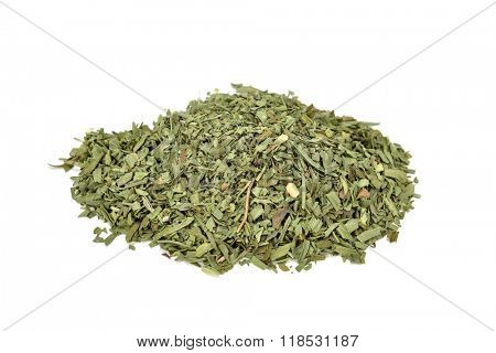 a pile of chopped tarragon leaves on a white background