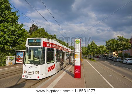 Tram In Downtown Of Freiburg Im Breisgau, Germany