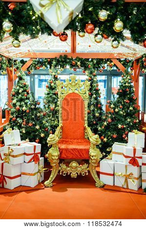 Luxurious Red Chair Santa Claus Throne And Gifts