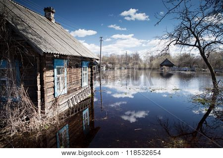 Flooded home and plots of land in the villages during the spring flood of the river Pripyat