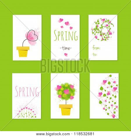 Spring style gift tags and cards with flowers. Stock vector illustration