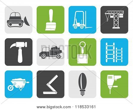 Flat Building and Construction equipment icons