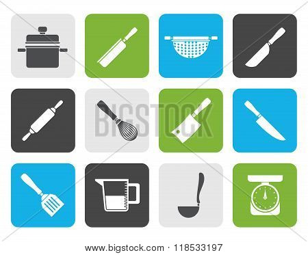 Flat Cooking equipment and tools icons