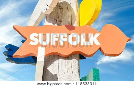 Suffolk welcome sign with sky background