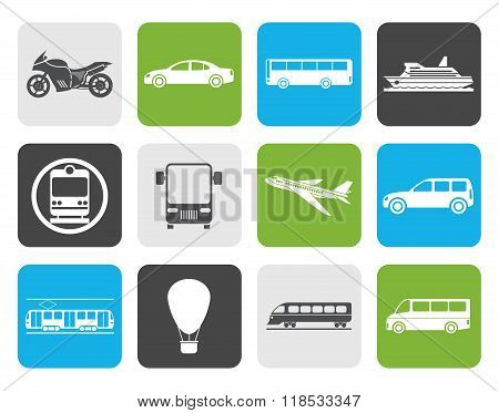 Flat Travel and transportation of people icons