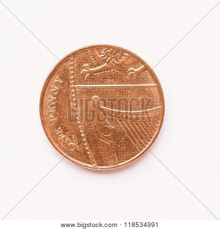 Uk 1 Penny Coin Vintage