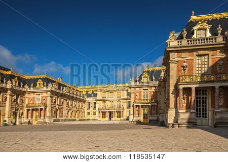 Facade Of The Famous Versailles Chateau, France