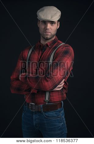 Hipster Lumberjack Fashion Man Wearing Red Checkered Shirt And Cap.