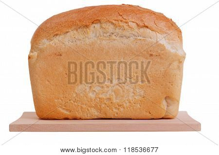 Loaf Of Bread On Cutting Board Isolated On White Background Loaf Of Bread On Cutting Board Isolated
