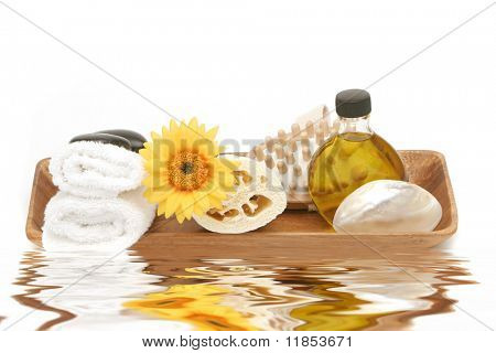 Spa objects in wooden tray