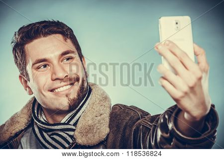 Happy Half Shaved Man Taking Selfie Self Photo.