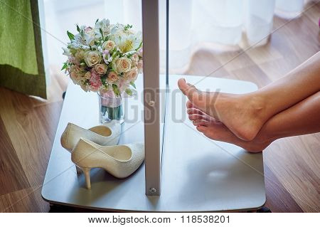 Beautiful Wedding Bouquet And Bride's White Shoes