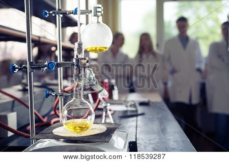 Laboratory equipment for distillation.Separating the component substances from liquid mixture