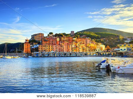 Elba Island, Rio Marina Village Bay. Bay Beach And Lighthouse. Tuscany, Italy.