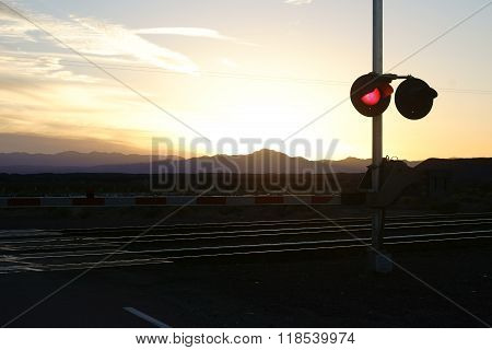 Railway crossing in the twilight