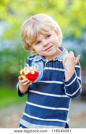 Funny blond kid boy eating healthy apple