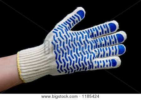 Hand In Safety Glove Isolated On Black