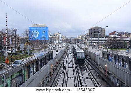 Paris, France, February 9, 2016: metro train in Paris, France. Metro is very popular transport in Paris