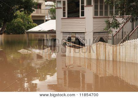 Brisbane, Australia - Jan 13 : Flood  Brisbane Auchenflower Area Queensland Declared Natural Disater