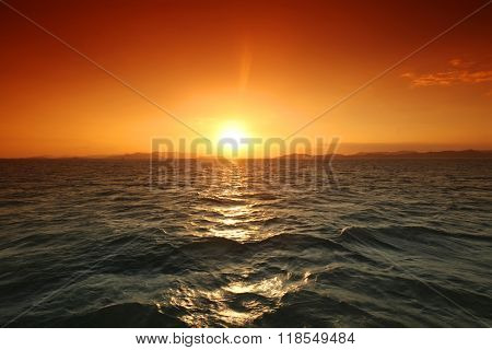 Majestic sunset mountains and sea