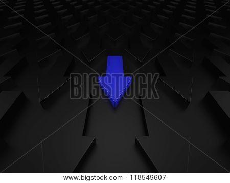 Different blue arrow