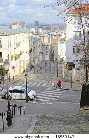 Paris, France, February 7, 2016: veiw to Paris from Montmartre - the well-known bohemian district in Paris, France