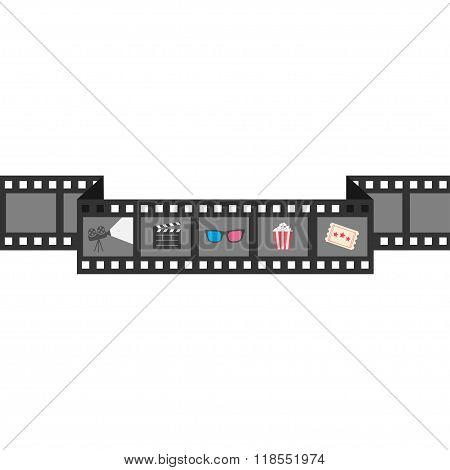 Film Strip Icon Set. Popcorn, Clapper Board, 3D Glasses, Ticket, Projector. Cinema Movie Night.  Whi