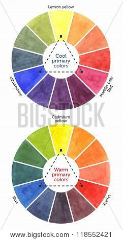 Watercolor Wheels With Cool And Warm Colors
