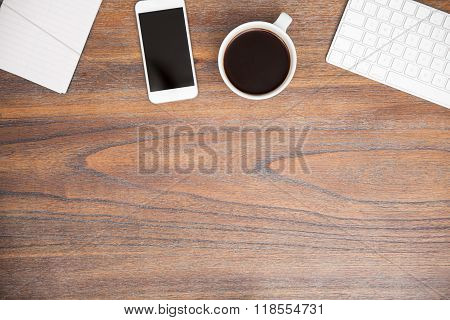 Wooden Desk With A Smartphone