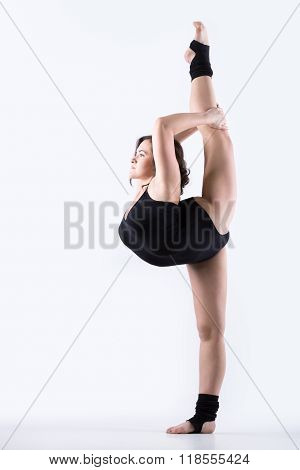 Gymnast Girl Doing Standing Split