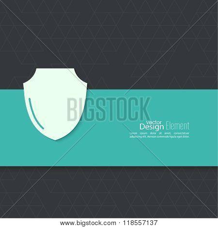 Shield symbol on a blue background.
