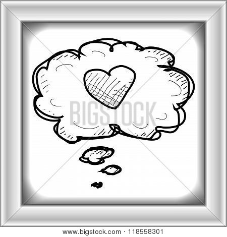 Simple Doodle Of A Heart In Thought Bubble